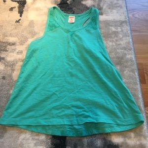 Green Tank Top with Beautiful Lace Size Small 7/8